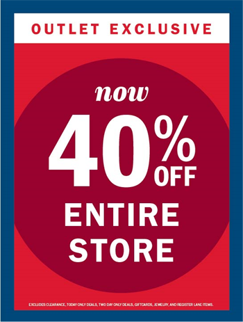 dca2f7f02b87 PRE-EASTER  40% OFF ENTIRE STORE - Tanger Outlets